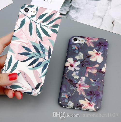 pretty nice 938b0 5eba6 Case For iPhone 6 Flower Cherry Tree Hard PC Phone Cases Candy Colors  Leaves Print Cover Coque For iPhone 6 6s 7 8 Plus