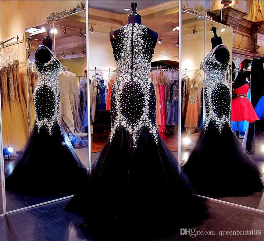 Luxury Beaded Rhinestone Pageant Evening Dresses 2018 Jewel Sleeveless Zipper Back Tulle Mermaid Prom Formal Gowns