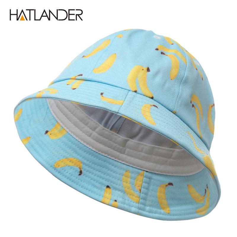HATLANDERWomen Banana Bucket Hat Men Panama Hat Unisex Cotton Bob ... 31138389c9e7