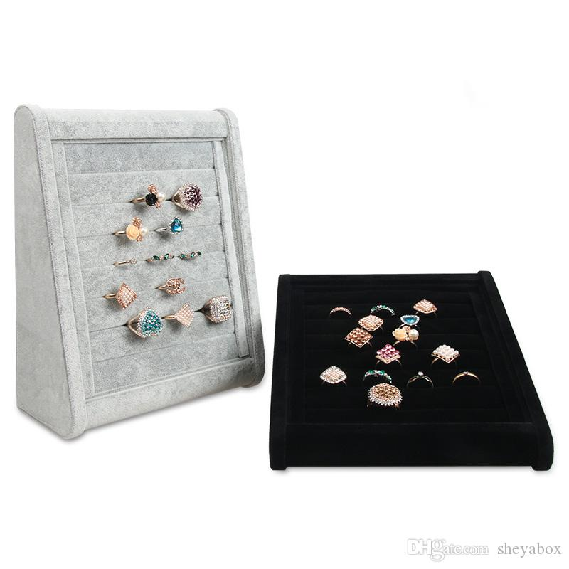 Inclined Jewelry Ring Display Stand Velvet Boutique Store Shelf Showcase Exhibition Fashion Rings Cufflinks Stud Earrings Prop Tray