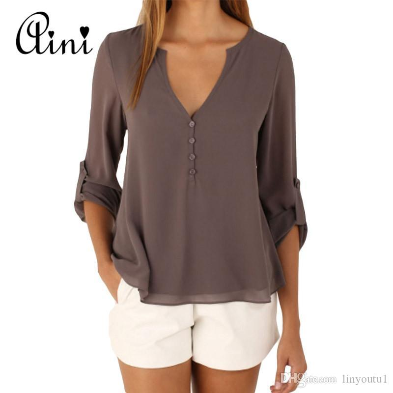 0c9c0311e0c 2019 Plus Size 5XL Women Tops And Blouse Long Sleeve Solid V Neck Loose  Chiffon Blouses 2018 Summer Top Boho Female Shirts Korean Top From  Linyoutu1
