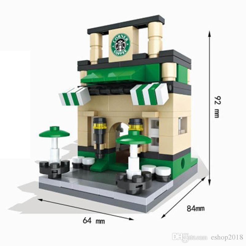 Blocks City Mini Street Building Series View Scene Mini Figure Coffee Shop Retail Store Architectures Models Assembly Building Blocks Toy