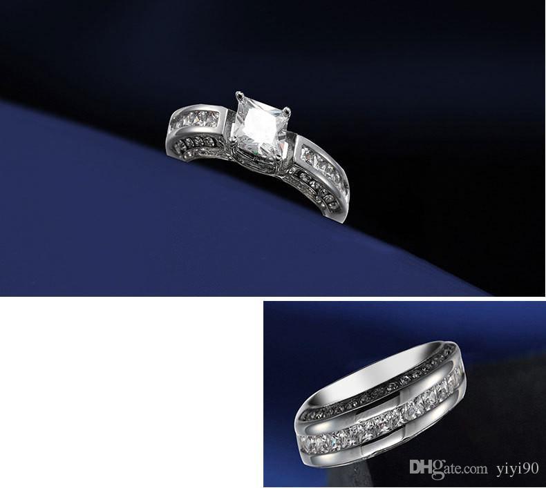 Fashion Square Cut White Sapphire Cubic Zirconia Rhinestone White Gold Plated Ring Sets Women Men's Wedding Gift Jewelry