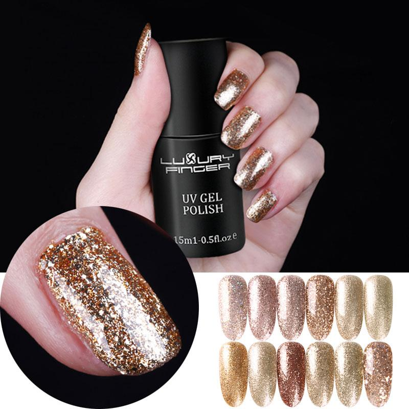 Luxury Finger 15ml Champagne Gold Bling Platinum Glitter Uv Gel ...