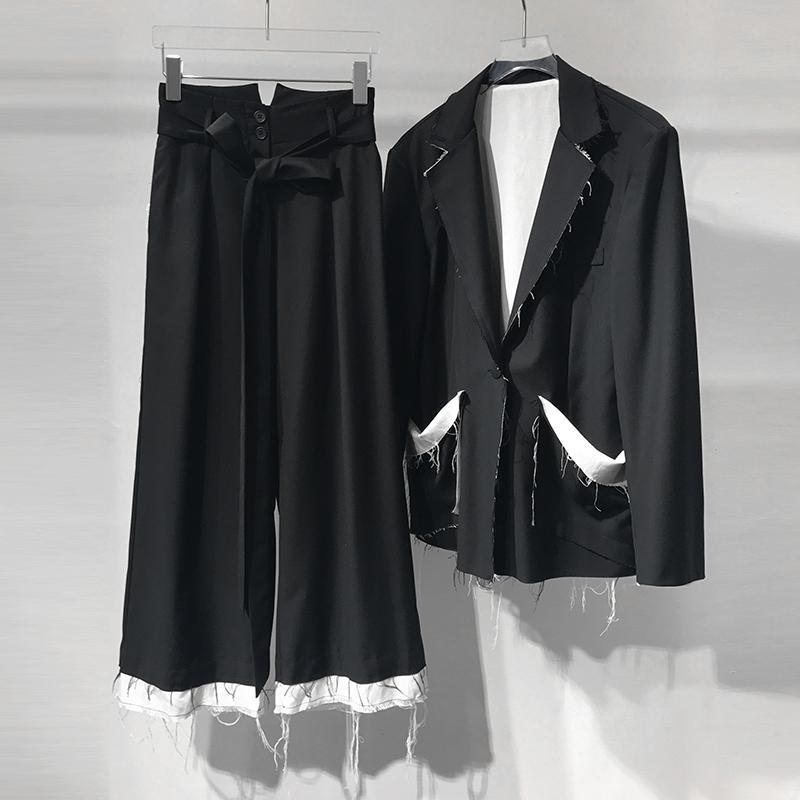 Blazer Piezas 2 Mujer Pierna Casual 2018 Getsring Pieza Ancho Pantalones Set Conjuntos Conjunto Dos Pantalón Mujeres gbfIyY76v