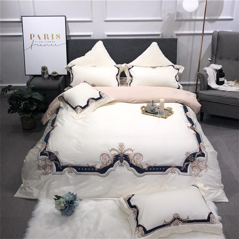 Weiß Blau Luxus Klassische Europäische Königliche Stickerei ägyptische Baumwolle Bettwäsche Set Bettbezug Bettlaken Bettwäsche Kissenbezüge