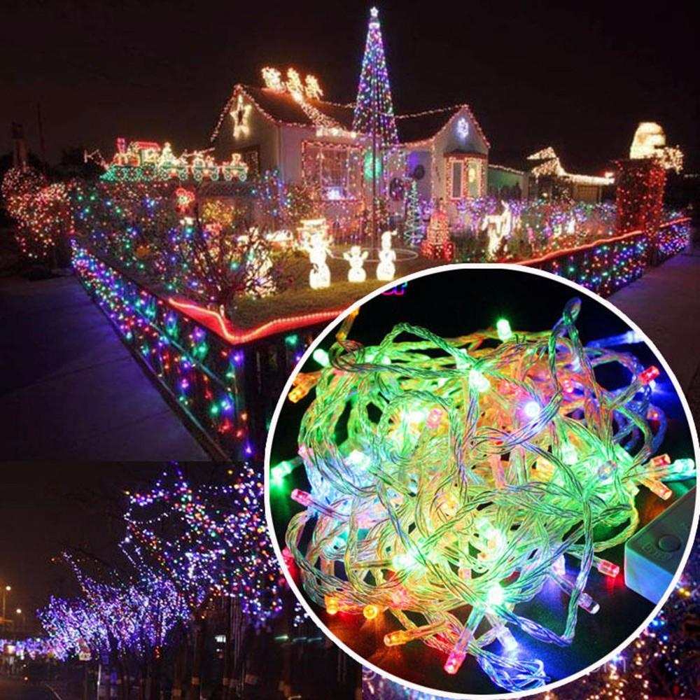 Muqgew New Year Led Christmas Lights Outdoor 100m Clear String Fairy ...