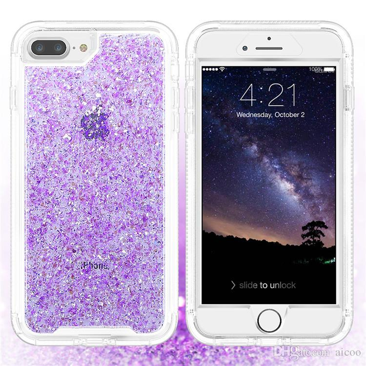 sale retailer ae062 8e4ca Bling Glitter Hybrid Gold Foil Embedded Phone Case Dual Layer PC TPU  Shockproof Cover For iphone X XS XR 8 7 plus Samsung S9 plus OPP