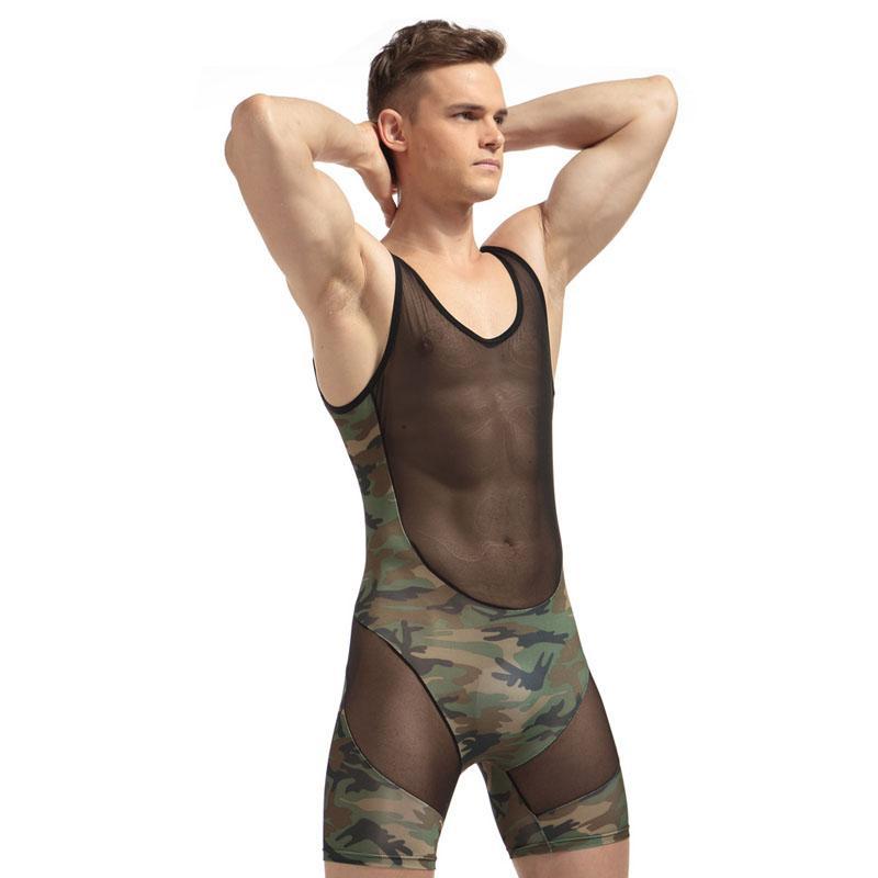 95acec4448 New Mens One-piece Sexy Bodysuit Lingerie Gay Male Splice Soft Boxer ...
