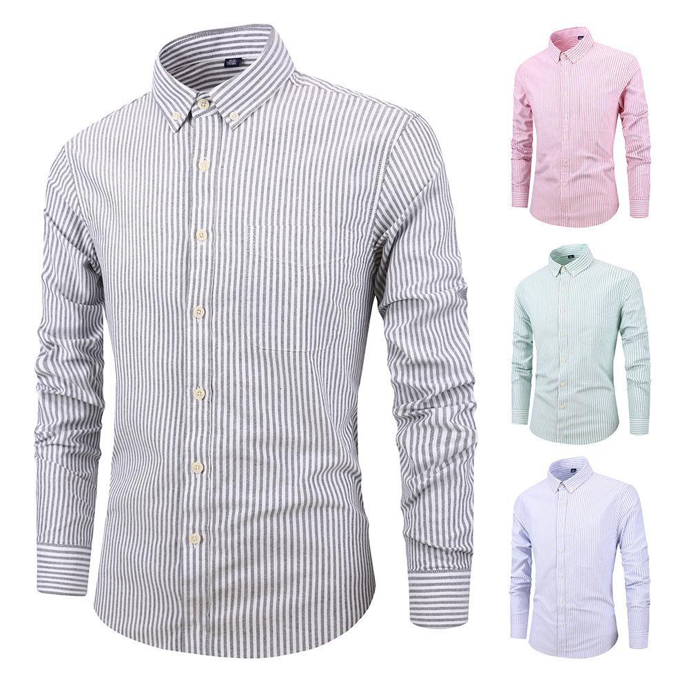 7c190530c8e4d Compre 2018 Nova Camisa Dos Homens Listrado Mangas Compridas Mens Camisas  De Vestido Camisa Masculina Primavera Outono Marca Casual Masculino Camisa  De ...