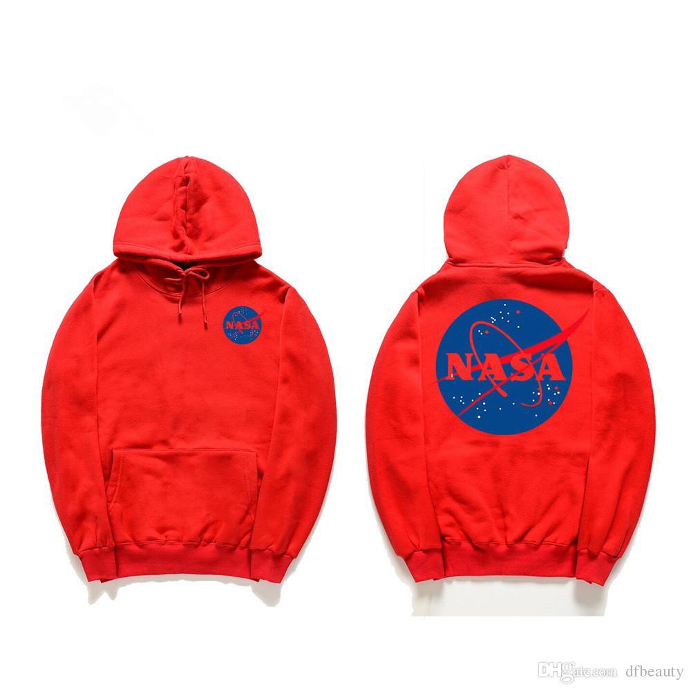 Осень зима прилив бренд мужской дизайнер НАСА толстовки черный серый хаки унисекс пуловер хлопок толстовка хип-хоп с капюшоном свитер любителей кофты