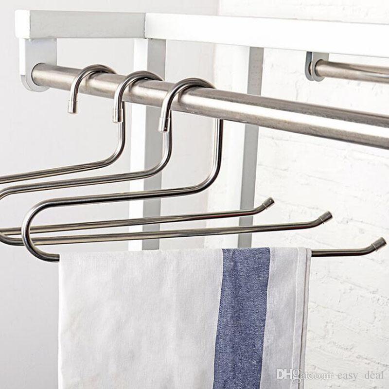 Stainless Steel Trousers Hanger Multifunction Pants Closet Belt Holder Rack S-type Saving Space QW7136