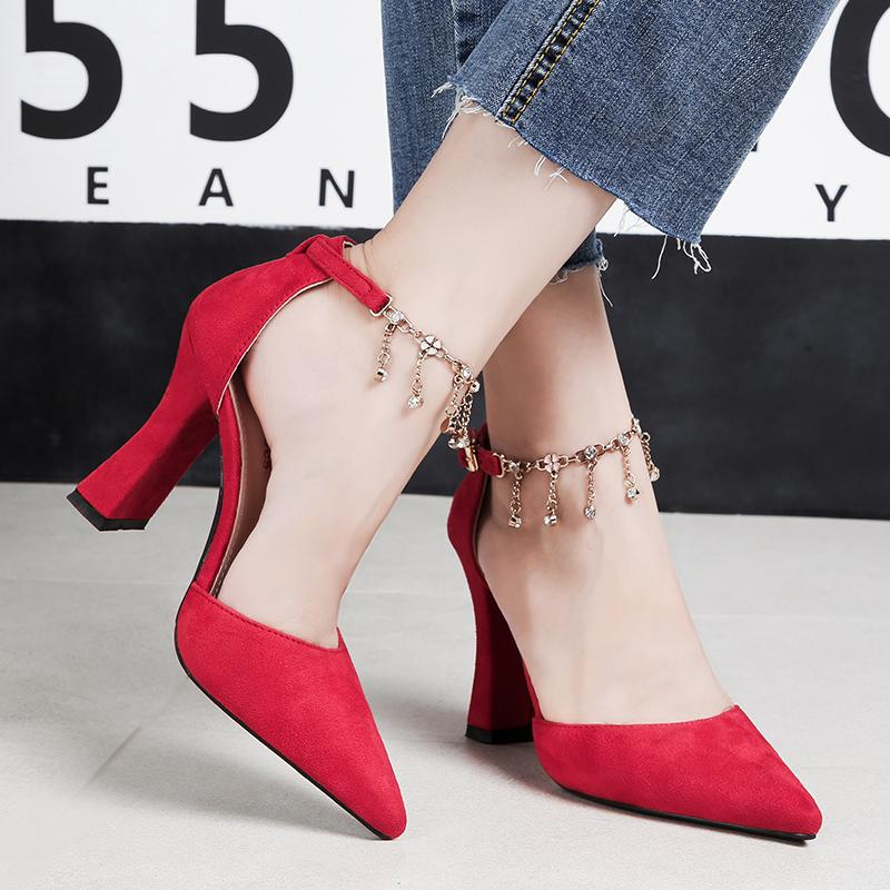 90433b03d25 2018 Women Summer Fetish 8cm Block High Heels Velvet Sandals Lady Red Suede  Pumps Female Ankle Strap Wedding Metal Chain Shoes Online with  80.42 Piece  on ...