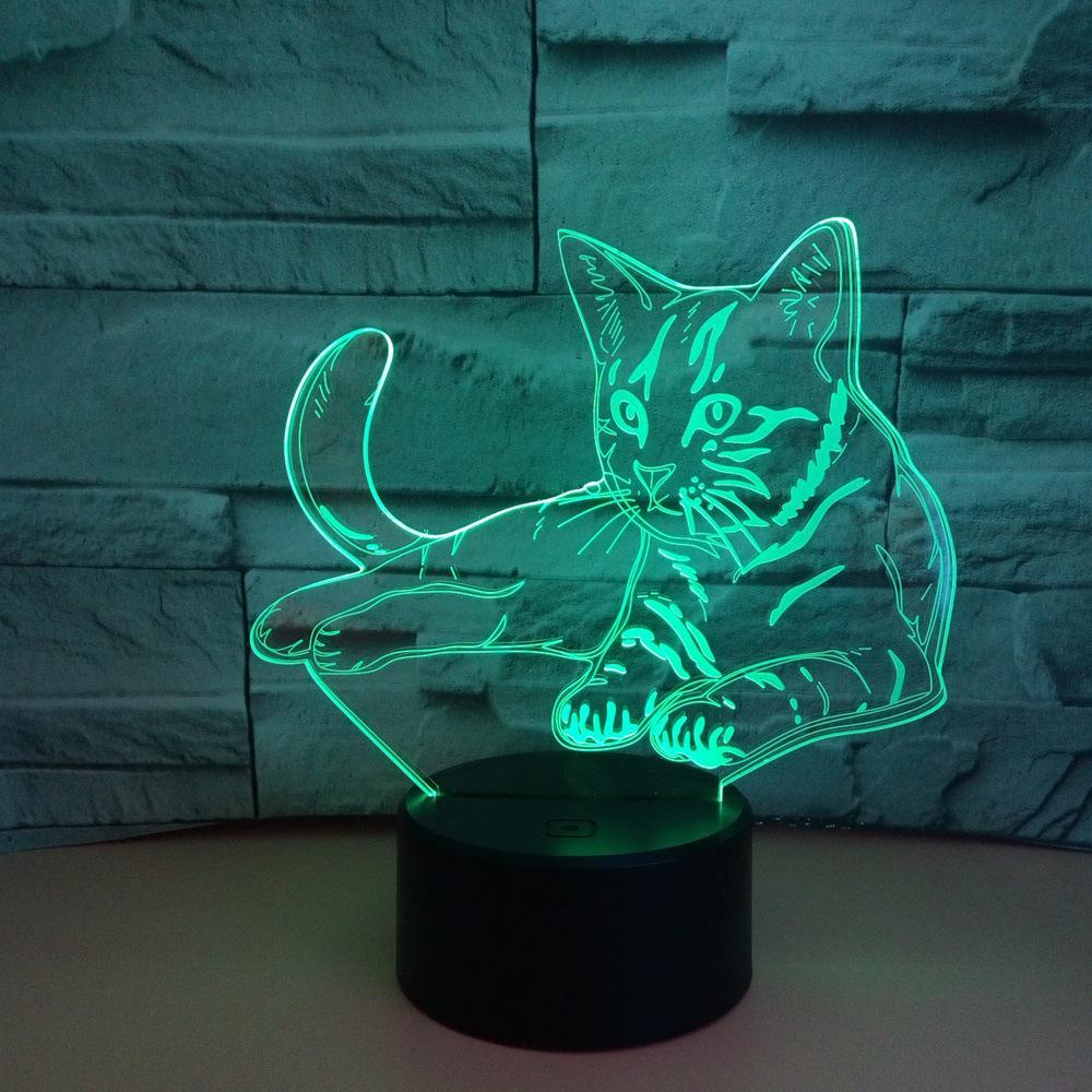 Grosshandel 3d Led Schone Alarm Katze Tischlampe Usb 7 Farbe Coole
