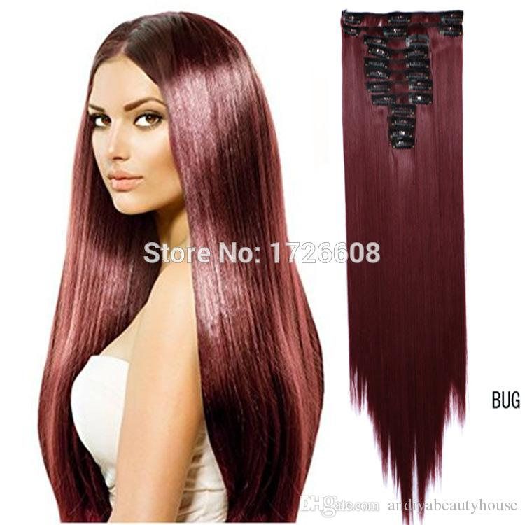 Auburn Clip On Hair Extension 60cm 24 150g Natural Hairpieces Hair