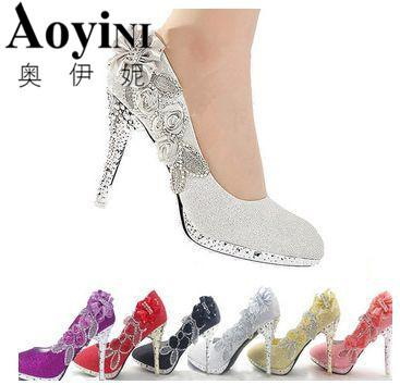 2e4df6eddb9 2019 Wedding Shoes Glitter Gorgeous Bridal Evening Party Crystal High Heels  Women Shoes Sexy Woman Pumps Silver Bridal Shoes Dress Mens Loafers Formal  Shoes ...