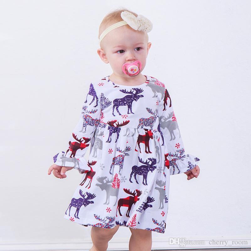 211afd06197c7 Christmas Kids Girls Princess Dress 2018 New Deer Printed Flare Sleeve  Children Party Dress Ruffle Snowflake Xmas Girl Dresses C4011