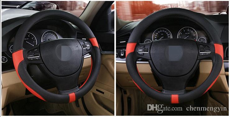2018 nova cobertura de volante de carro Universal elegante quatro estações de couro universal cobertura de volante de guiador 38cm FX-027