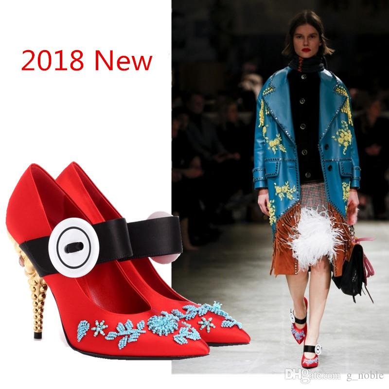 2018 Spring High Street Fashion New Mary Janes Red Satin Pointy Wedding Shoes Hand-Beading Button Decor Formal Dress Shoes