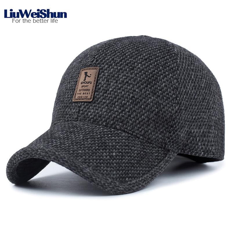 eb082ae9935 Golf Logo Winter Thicken Baseball Cap Hats For Men Dad Casual Solid Color  Outdoor Keep Warm Winter Cap Hats With Earflaps Gorras Cheap Snapback Hats  Hats ...