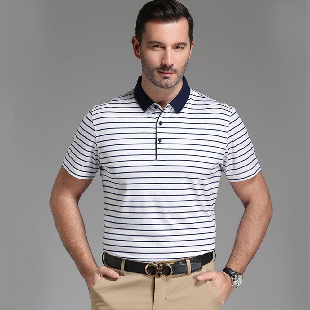 676c7211fde 2019 2018 Summer New Arrival Fashion Men S Short Sleeve Striped T Shirt POLO  Silk Shirt Business Casual Lapel T Shirt Size M 4XL From Vogocm55