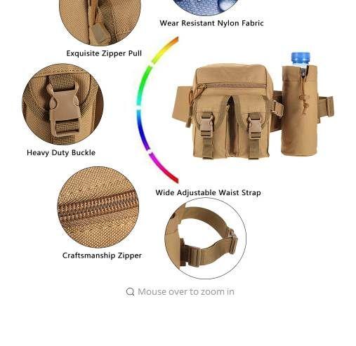 5b43ad36f6 Tactical Molle Bag Hip Packs Waist Bag Fanny Pack Hiking Fishing ...
