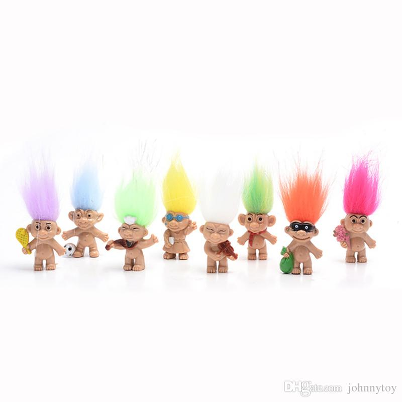 8pcs/lot Colorful Hair Troll Doll Family Members Dad Mum Baby Boy Girl Dam Trolls Toy Gift Happy Love Family