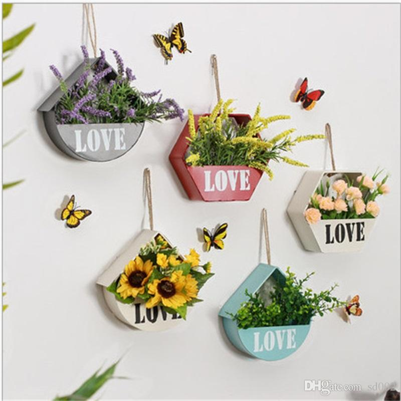 Metal Garden Pot Originality Wall Decorate Flowerpot Metope Succulent Plants Manual DIY Iron Art Hanging Small Flower Basket Decor 13 5wy XY