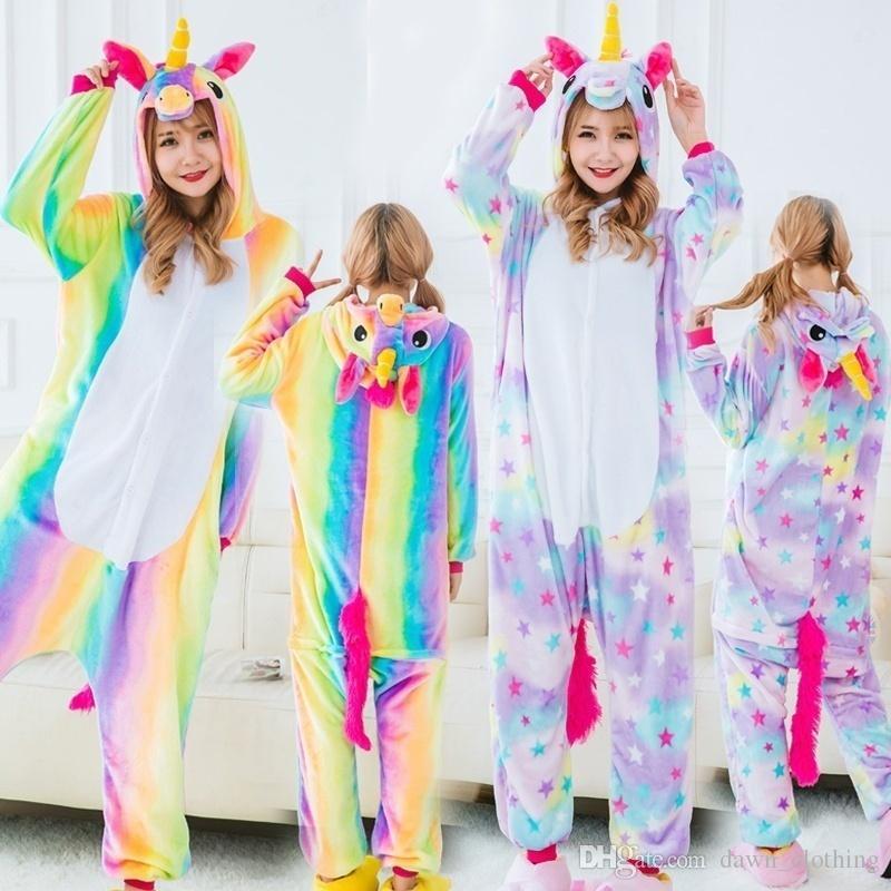 df346011e Großhandel Neue Erwachsene Kind Regenbogen Einhorn Onesie Pyjamas ...