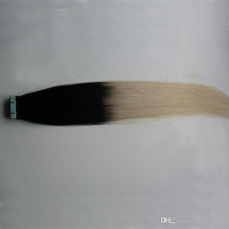 Tape In Extensions Ombre T1B/613 Two Tone Non-Remy 100G Human Hair Straight Ombre Skin Weft Hair Extensions