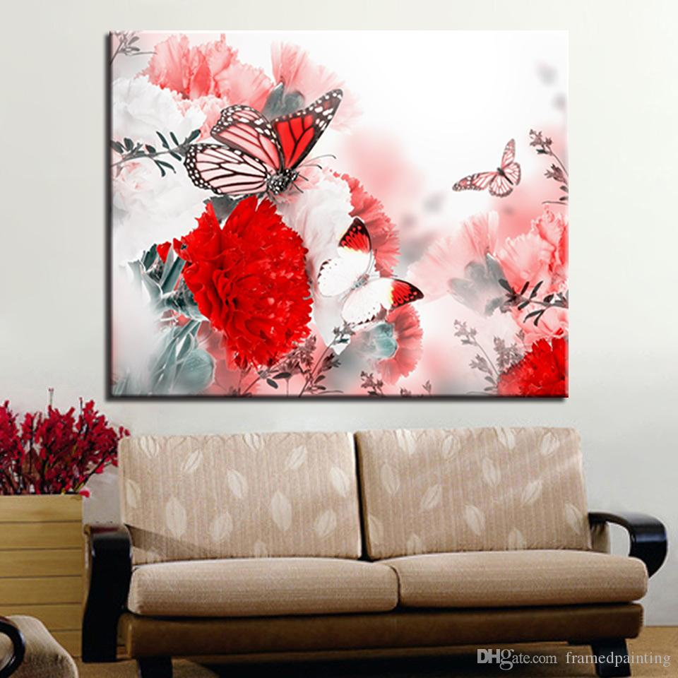 Frame Painting By Numbers DIY Digital Flowers Butterfly Flying Oil Pictures On Canvas Kits Coloring Abstract Home Decor Wall Art