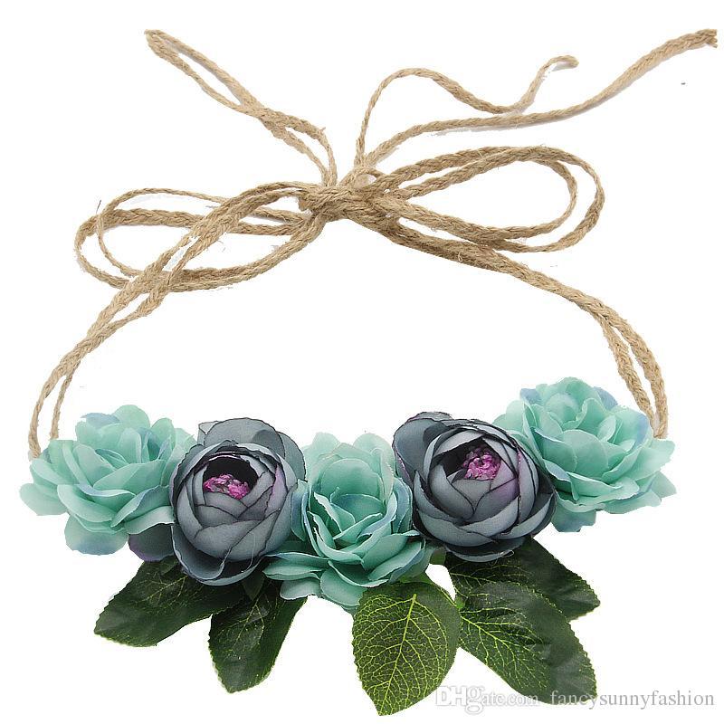 Prime blooming camellia headhoop bridal headband bridesmaid wreath beach garland rope weaved headpiece wedding accessories photography prop