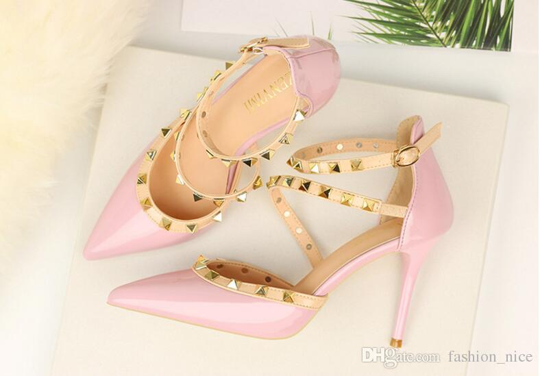 4b832e17ee6f Summer Women Pumps Small Heels Wedding Shoes Pink Red White Stiletto ...