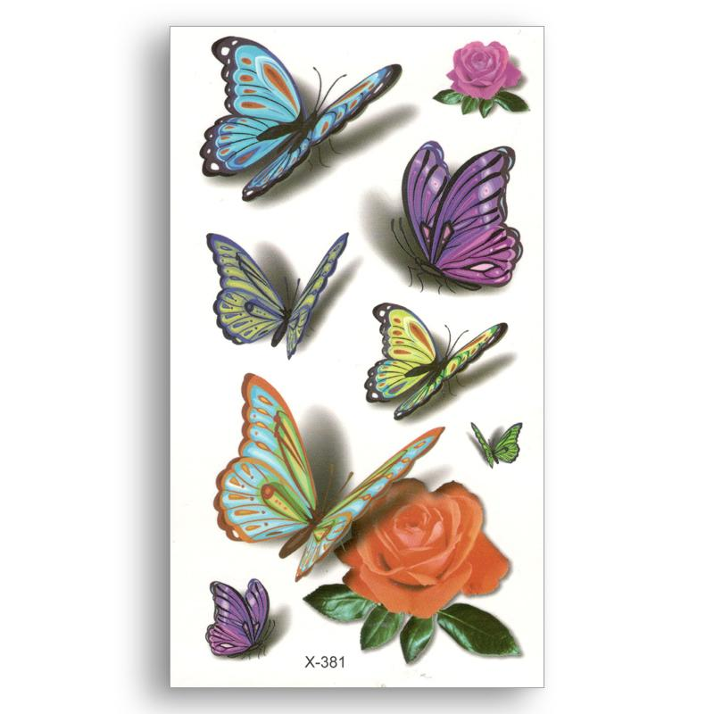 Fake temporary tattoo Water Transfer 3D colored flowers butterfly Stickers  Women Man beauty Sexy Body Art Live of Song X381