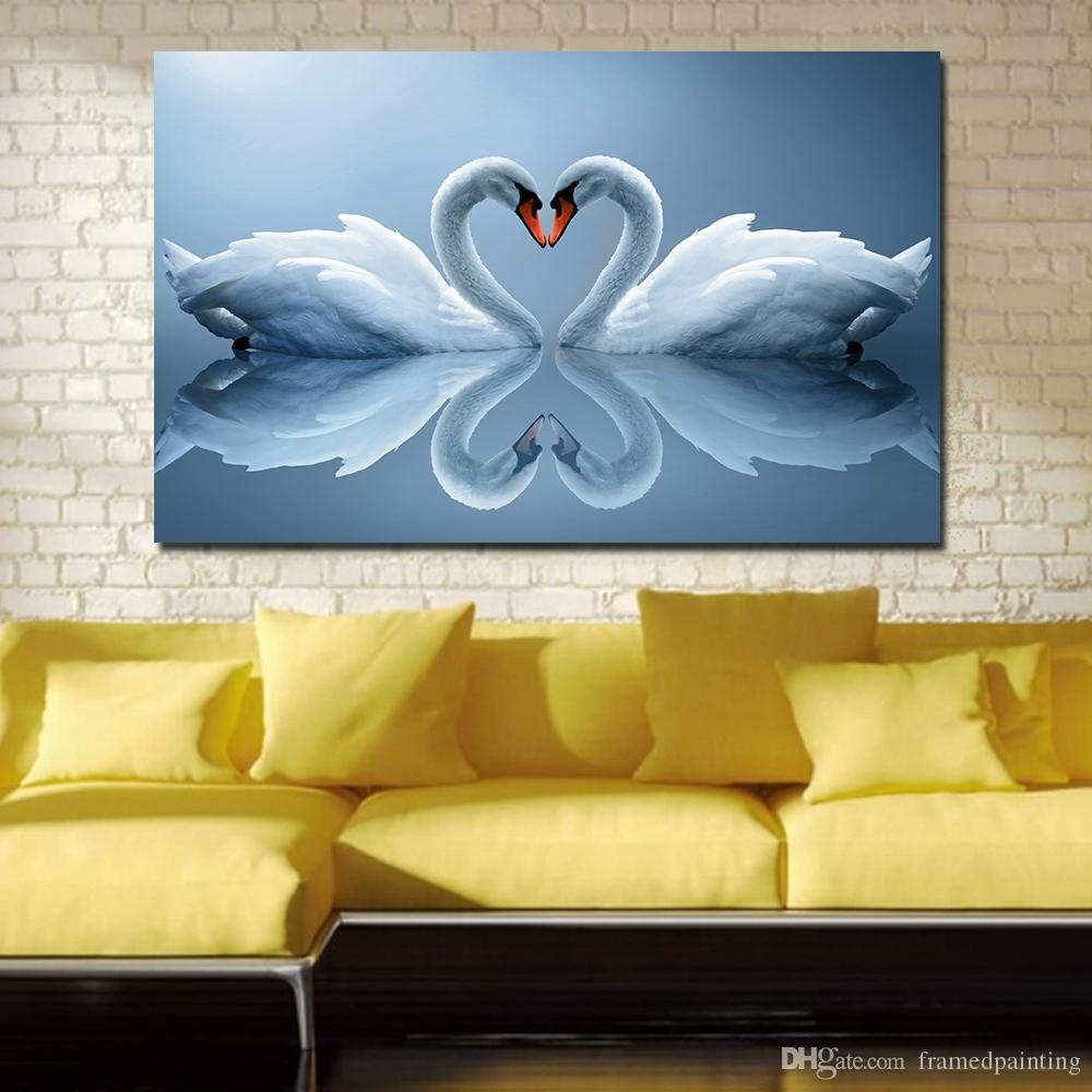 2018 Lovers Swan Paintings On Canvas Modern Wall Pictures For Living ...