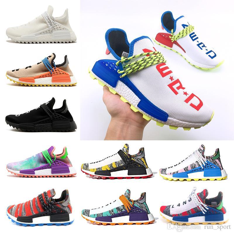 c7e2556ebe4 Pharrell X Human Race L4ND Afro Hu Trial Solar Pack NERD Homecoming Men  Women Running Shoes Holi Core Black Sports Sneaker Size 36 47 Sports Shoes  For Women ...