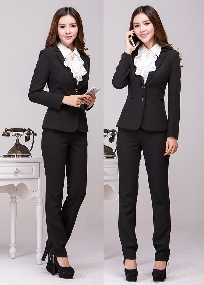 New Plus Size Fashion Slim 2015 Femininos Professional Business Work Wear Autumn Winter Office Pant Suits Beautician Uniforms