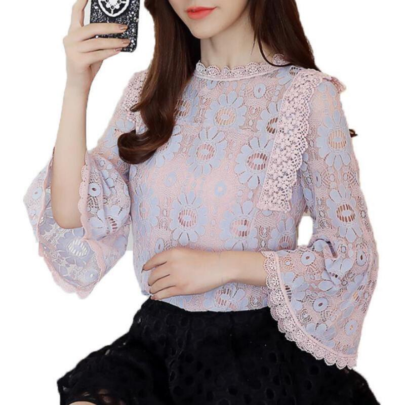 2019 2019 Women Lace Blouse Flare Sleeve Fashion Womens Tops And Blouses  Crochet Lace Chiffon Blusas Femininas Plus Size Women Shirts From  Caicaijin09 efcca14ade21
