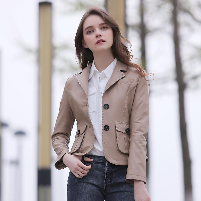 exclusive deals factory outlets cheap sale FREE SHIPPING 2017 Women Fashion Genuine Camel Leather Jacket Real  Sheepskin Slim Fit Short Casual Leather Coat Factory Direct