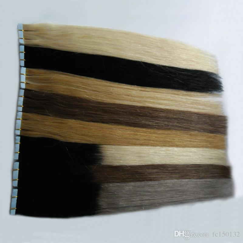 Ombre Tape In Human Hair Extensions Machine Made Remy Brazilian Straight Hai skin weft tape hair extensions 100g 4B 4C head