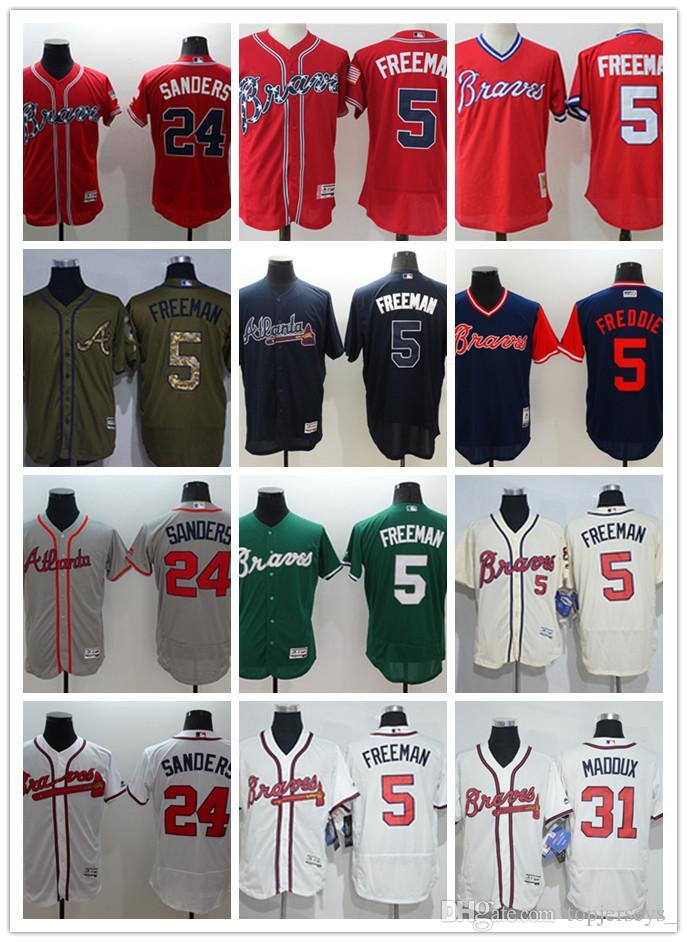 sale retailer 0ecc0 51bc0 Men women youth Majestic custom Braves Jersey #5 Freddie Freeman 24 Deion  Sanders 31 Greg # Maddux Home Blue Red Baseball Jerseys