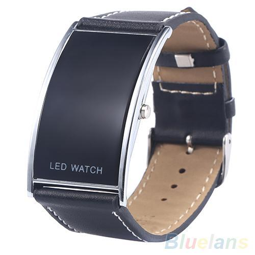 Men's Women's LED Digital Date Rectangle Dial Faux Leather Strap Electronics Wrist Watch Relojes
