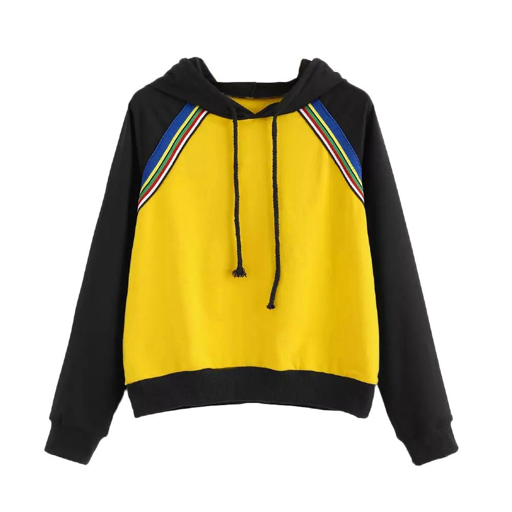 2019 FeiTong Long Sleeve Sweatshirt Drawstring Hoodie Women Yellow Hooded  Full Sleeve Spring Autumn Casual Plain Sweatshirt Moletom From Vineger 95e9db745a