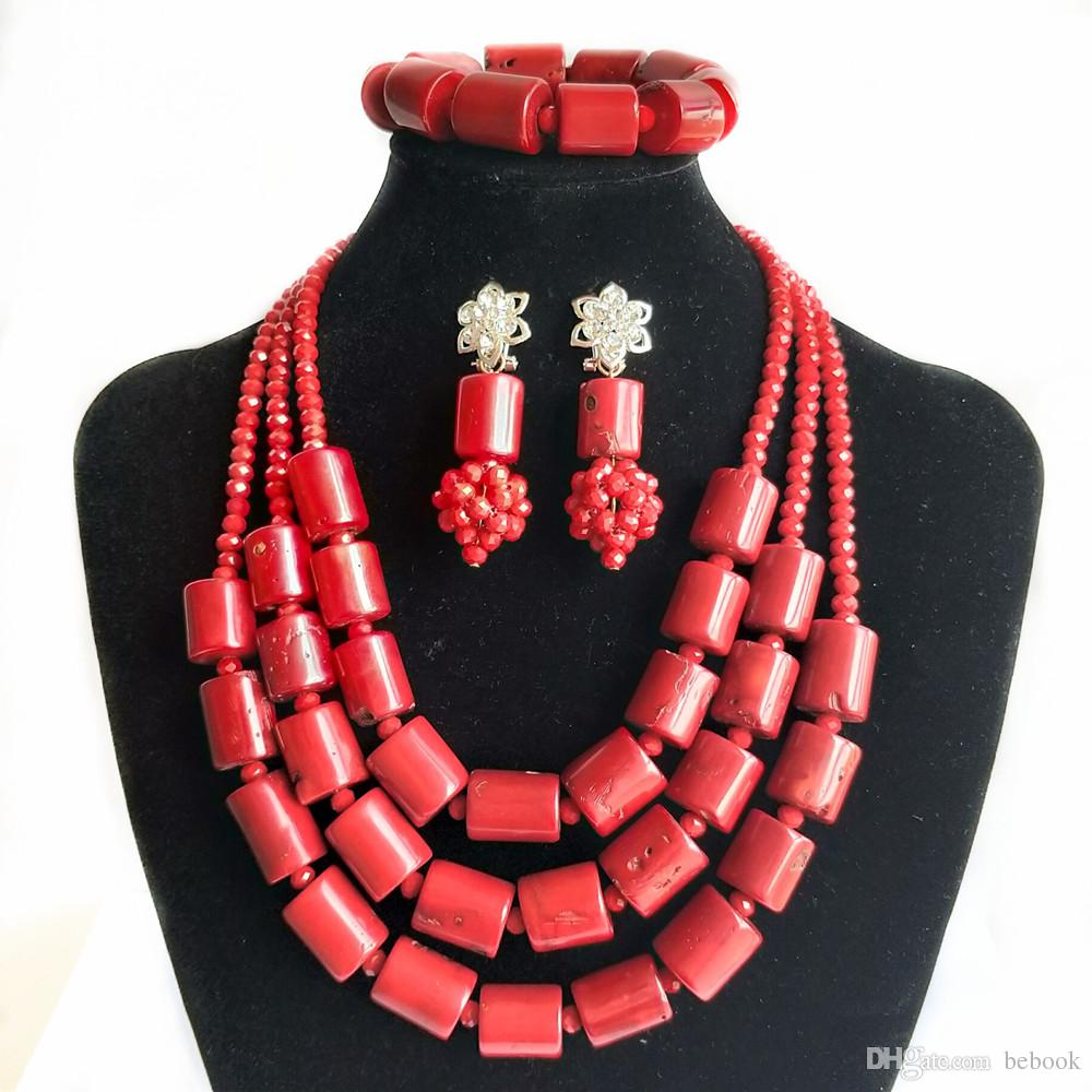New Red Coral India Jewelry Set for Women Nigerian Wedding Beads African Bridal Jewelry Set Dubai Necklace Earrings Bracelet Free Shipping