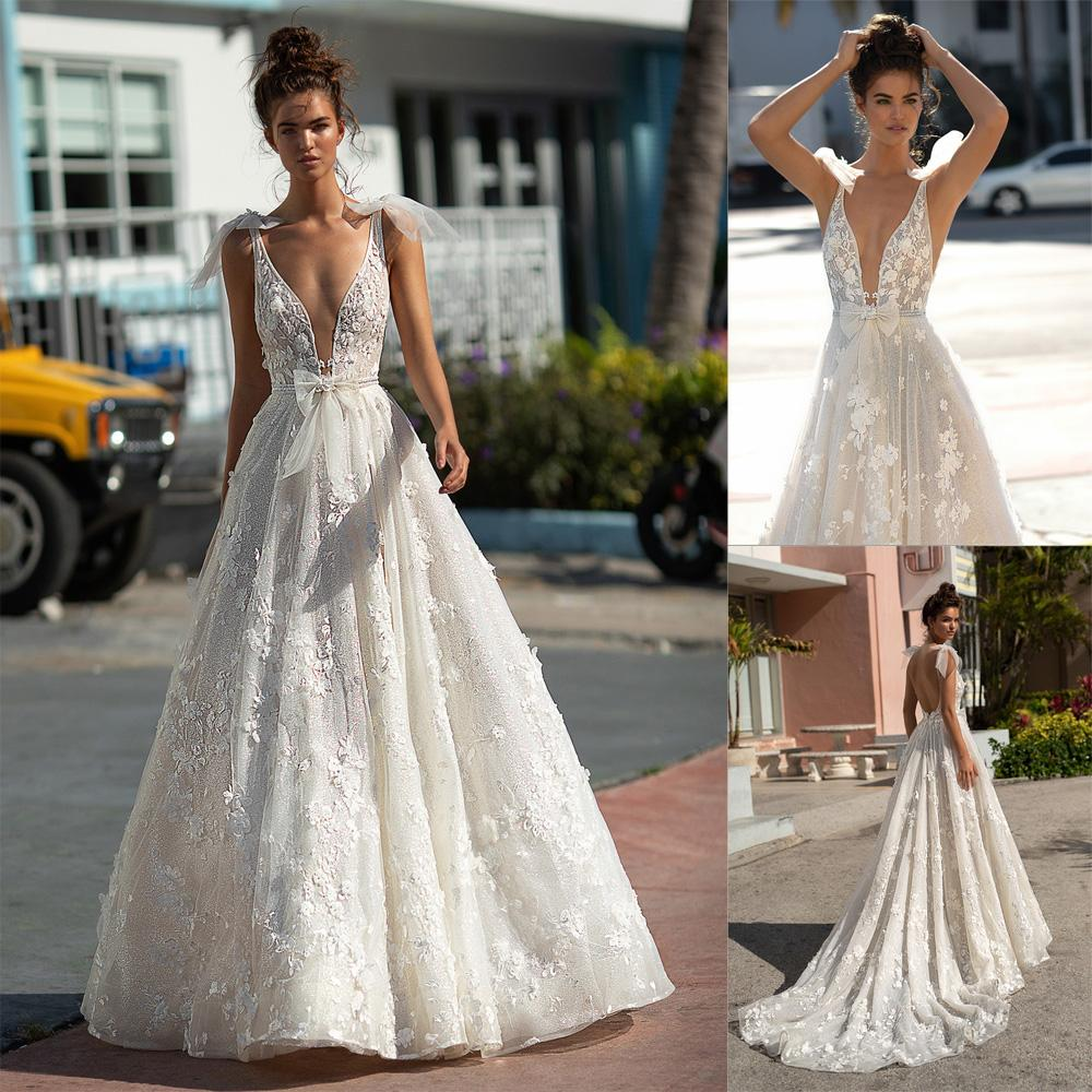 Discount 2019 Newest Berta Sexy Deep V Neck Wedding Dresses With Spaghetti  Straps Handmade Flowers Beaded Pearl Beach Wedding Bridal Gown Bridal  Dresses ... 319d49e568b2