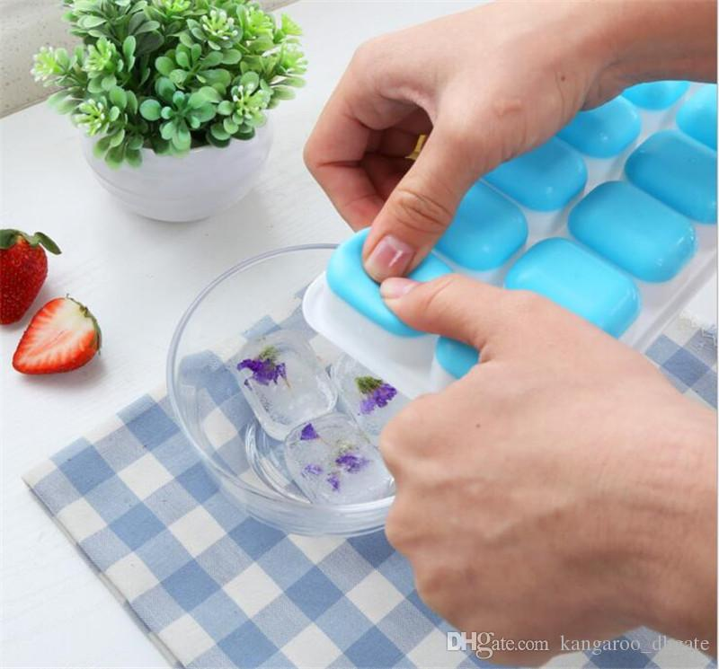 DIY Ice Cubes Maker Silicone Ice Cube Lattice mold 14 with Cover food grade Lid Frozen Making Trays Baby food Kitchen Bar Tools for whiskey