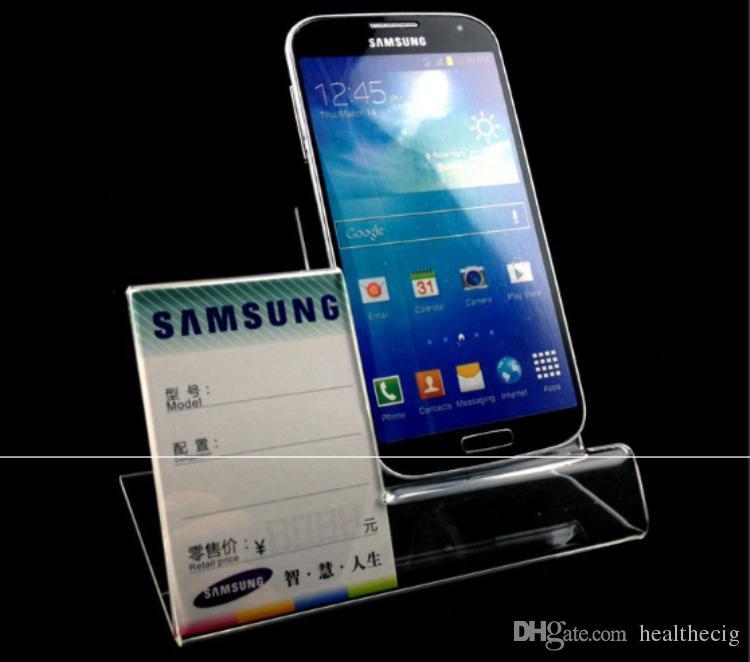 Acryl-Handy Halterungen Halter Handy-Ausstellungsstand mit Preisschild-Halter für 6inch iphone Samsung HTC schnelles Verschiffen