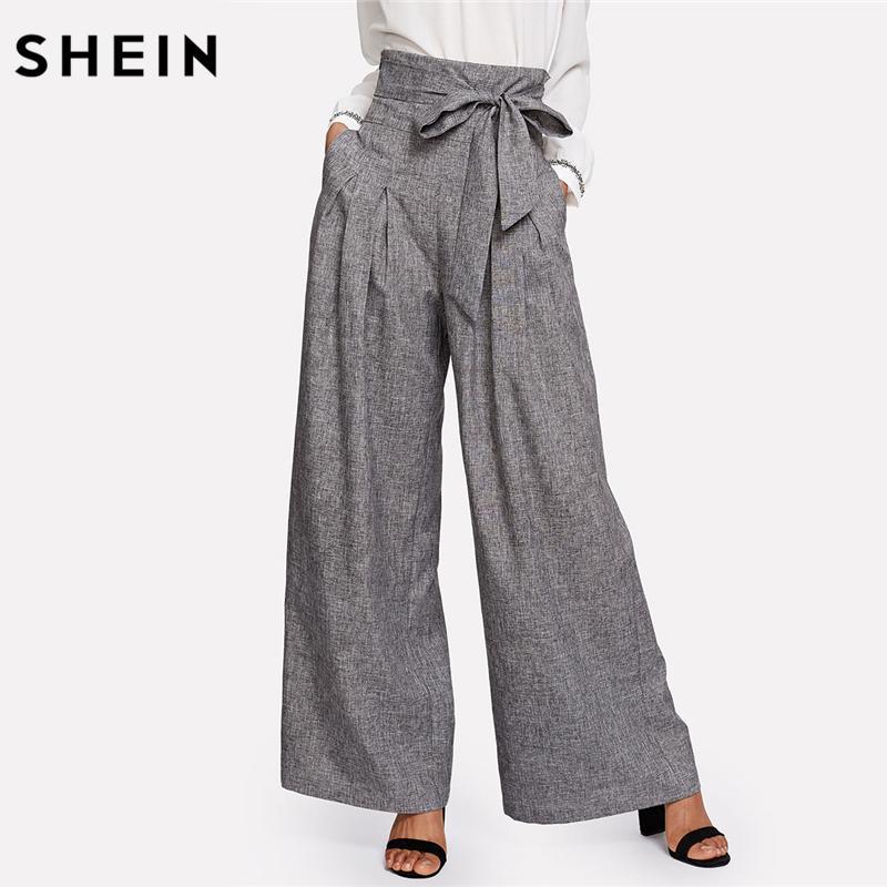 Compre SHEIN Pantalones Anchos Para Mujer Pantalones Sueltos Con Mosca Con  Cremallera Mujer 2018 Pantalones Acanalados Para Mujer Con Cintura Alta  Gris ... 8f924a1e5cb3