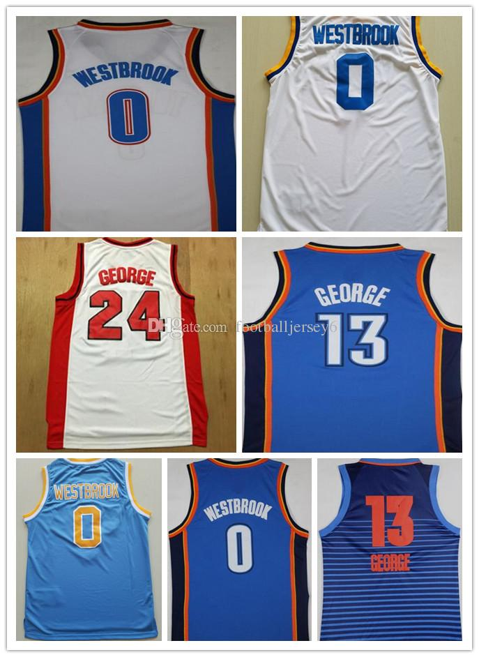 e0f7f8195 2019 NCAA Cheap 2018 New American Basketball Jerseys Russell Westbrook Mens  Shirts Paul George College Clothes White Blue Red Color Wholesale From ...