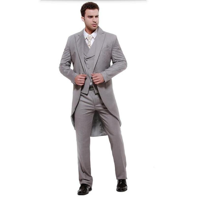 e339226936873 Satın Al Erkek Takım Elbise Gri Swallow Kuyruklu Ceket Yüksek Kalite  Erkekler Suit Zarif Moda Damat Takım Elbise Sağdıç Balo Ceket + Yelek +  Pantolon, ...